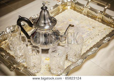 Arabic Tea Theme. Teapot With Glasses On Metal Salver