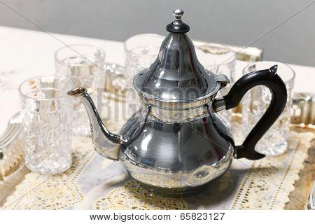 Arabic Tea Theme. Metal Teapot With Glasses On Salver