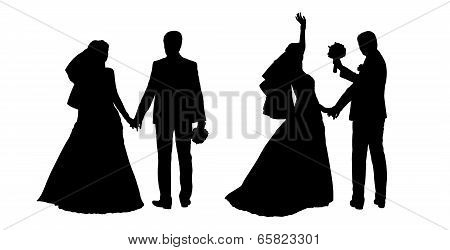 Bride And Groom Silhouettes Set 4