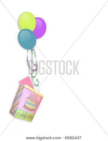 Birthday invitation Border balloons