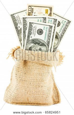 dollar bills in a canvas sack