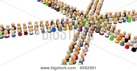 Cartoon Crowd, 6 Way Crossing