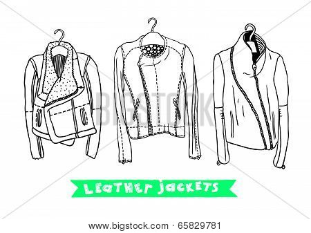 Vector black and white set with original leather jackets