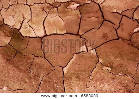 Clay Dried Red Soil Cracked Texture Background