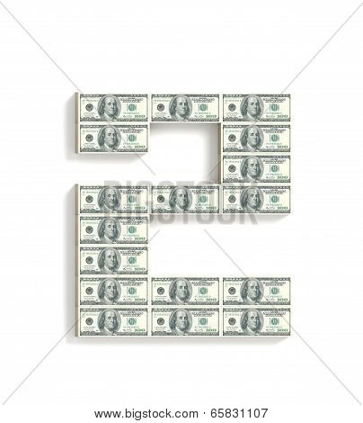 Number 2 made of dollars.