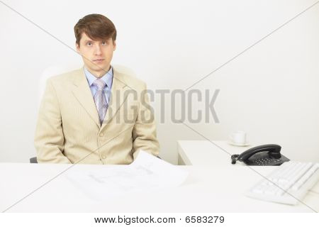 The Very Serious Businessman Attentively The Listens