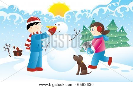 Kids and a snowman
