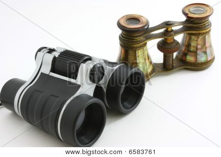 Modern binoculars and antique opera glasses