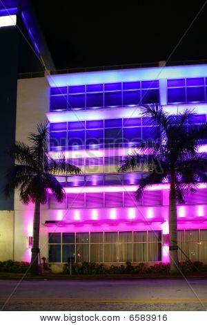 Blurred Night Colorful Lights In Miami Beach