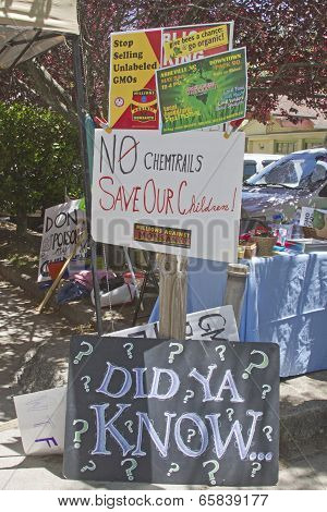 Close Up Of Gmo Protest Signs At A Rally