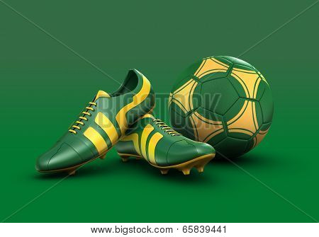 3d football boots and soccer ball