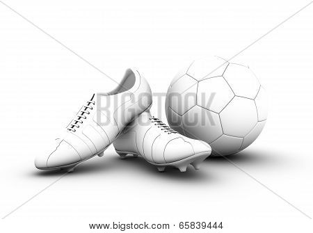 3d football shoes and soccer ball