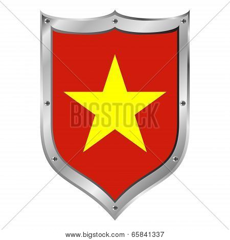 Vietnam Flag Button.