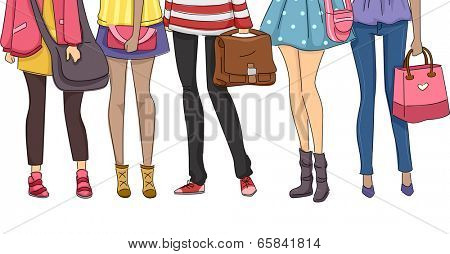 Cropped Illustration Featuring Teenaged Students Dressed for School