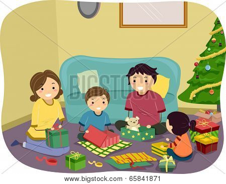 Illustration of a Family Opening Christmas Gifts Together