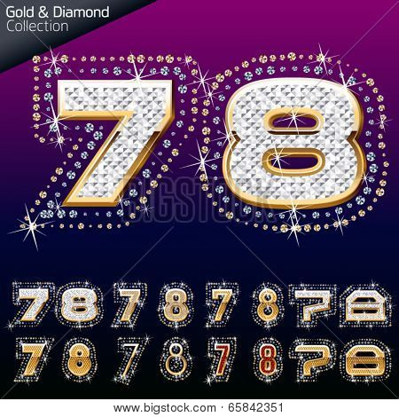 Shiny font of gold and diamond vector illustration. Numbers 7 - 8