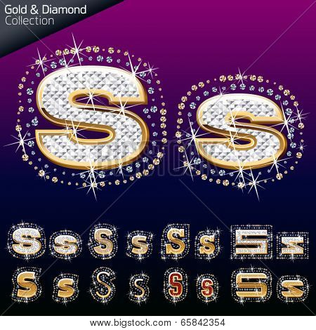 Shiny font of gold and diamond vector illustration. Letter s