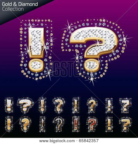 Shiny font of gold and diamond vector illustration. Symbol 1