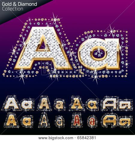 Shiny font of gold and diamond vector illustration. Letter a