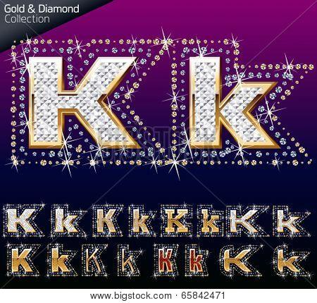Shiny font of gold and diamond vector illustration. Letter k