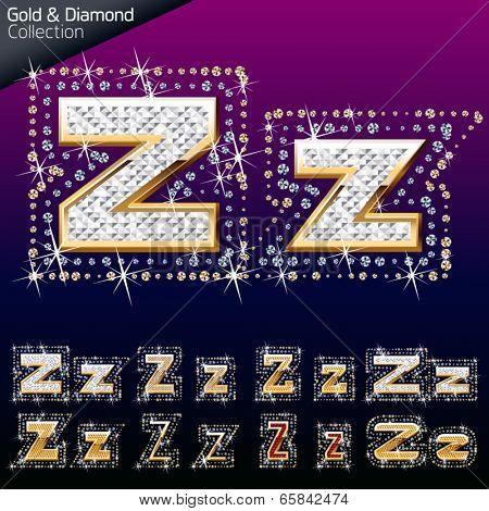 Shiny font of gold and diamond vector illustration. Letter z