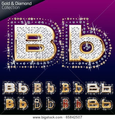 Shiny font of gold and diamond vector illustration. Letter b