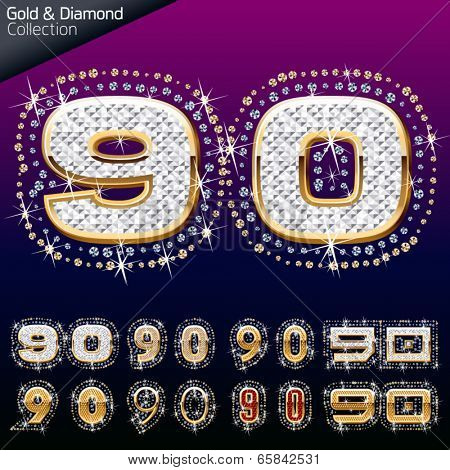 Shiny font of gold and diamond vector illustration. Numbers 9 - 0