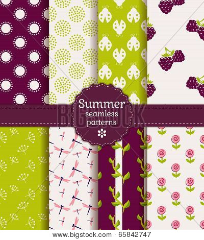 Seamless Summer Patterns. Vector Set.