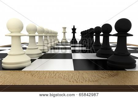White and black pawns facing off with king and queen on white background