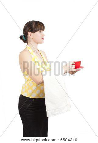 Chica barman con una taza de café