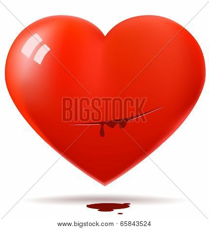Cutted red glossy heart