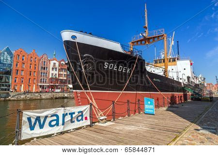 GDANSK, POLAND - 20 MAY: SS SOLDEK on Motlawa river in Gdansk, May 20, 2014. SS SOLDEK is the first ship built in Poland after World War II. Currently is preserved as a museum ship in Gda?sk.