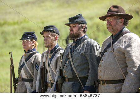 Confederate Reenactors In Formation.