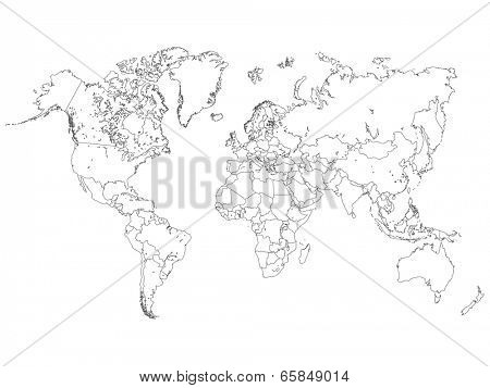 World Map Outline Illustration