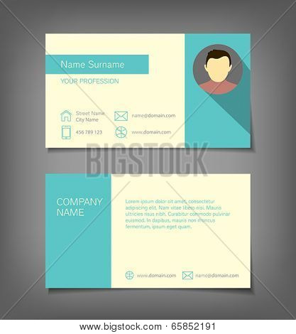 Business card in flat design style.