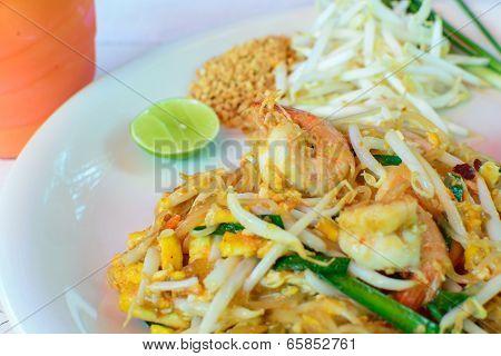 Thai food , stir-fried rice noodles (Pad Thai)