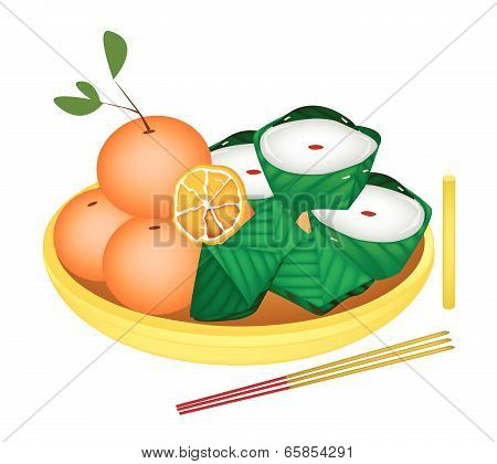 Pyramid Dessert And Chinese Pudding With Orange