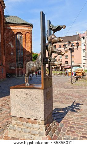 Town Musicians Of Bremen Sculpture In Riga, Latvia
