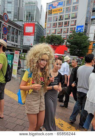 Blond Gothic Lolita At The Shibuya Crossing, Tokyo
