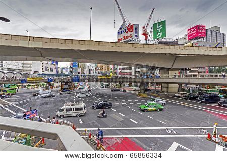 Wideangle Photo Of Industrial Landscape In Shinjuku, Tokyo