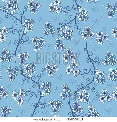 Blue background with flowers.