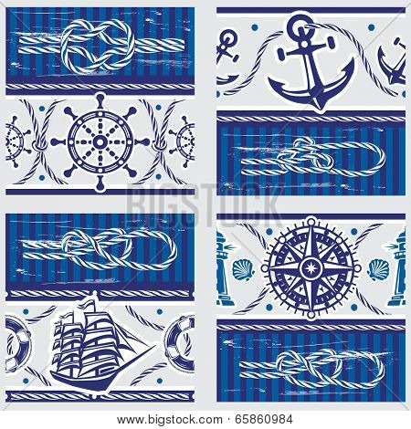 Patterns with Nautical symbols and  marine knots