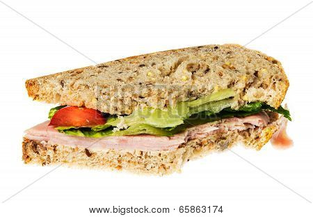 English Multigrain Bread Ham Sandwich With Bite