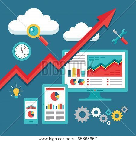 SEO (Search Engine Optimization) Programming - Business Up-Trend - Vector Illustration for presentat