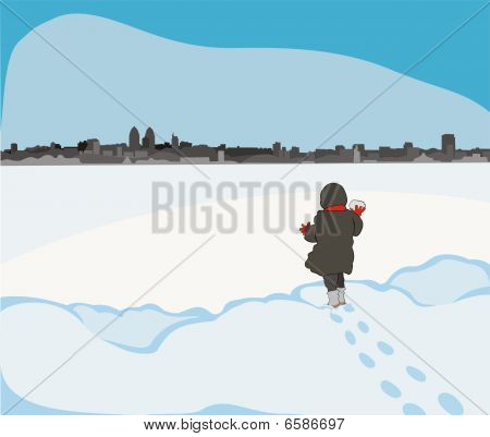 child at the frozen river