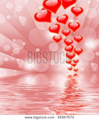 Hearts On Background Displays Valentines Day Or Romanticism