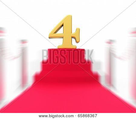 Golden Four On Red Carpet Displays Elegant Film Event Or Celebration