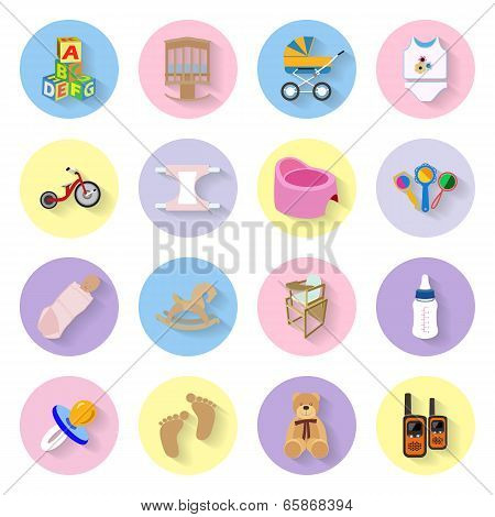 Baby And Kids Flat Icons Set