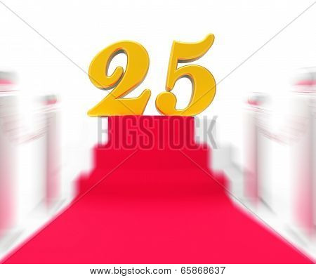 Golden Twenty Five On Red Carpet Displays Twenty Fifth Anniversary Recognition