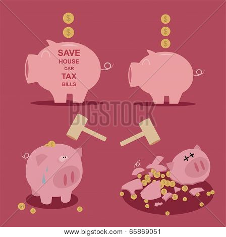 set of Piggy bank  saving money  Vector
